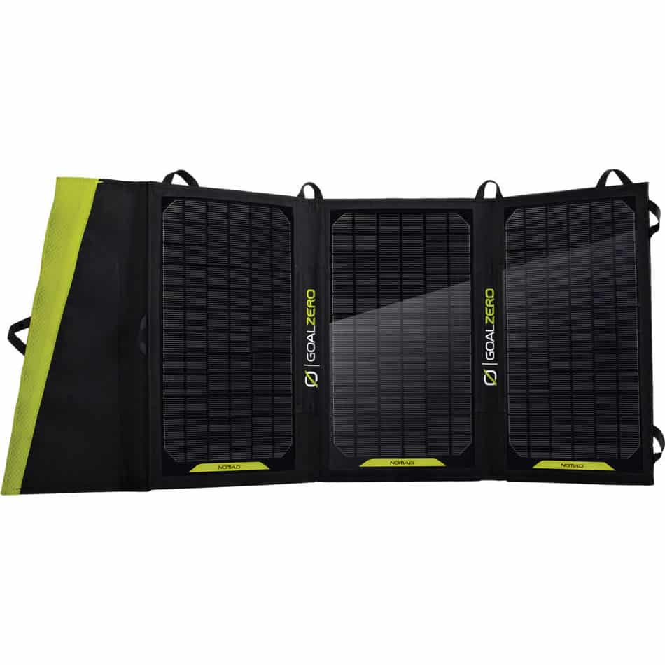 The Nomad 20 provides three solar panels for optimal sun energy collection