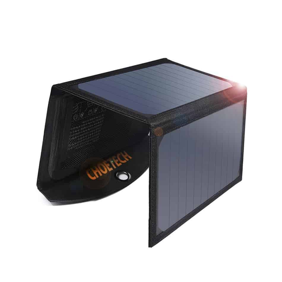 A solar panel charger can power your devices in the outdoors