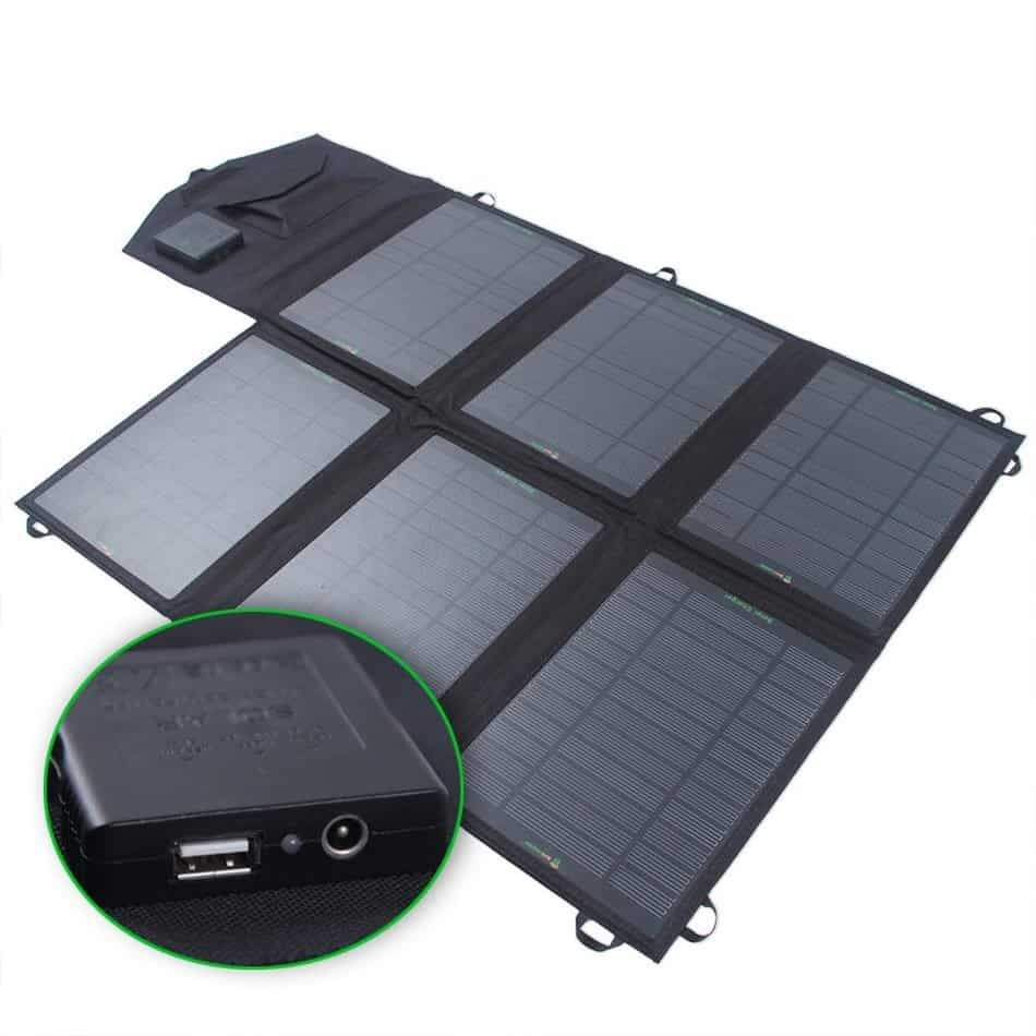 This portable solar charger has a large surface area which is great for energy collection
