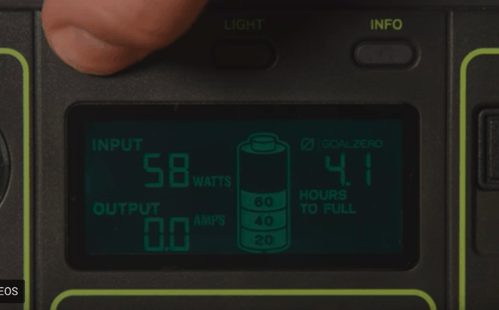 The mini generator displays wattage and hours left until the battery depletes