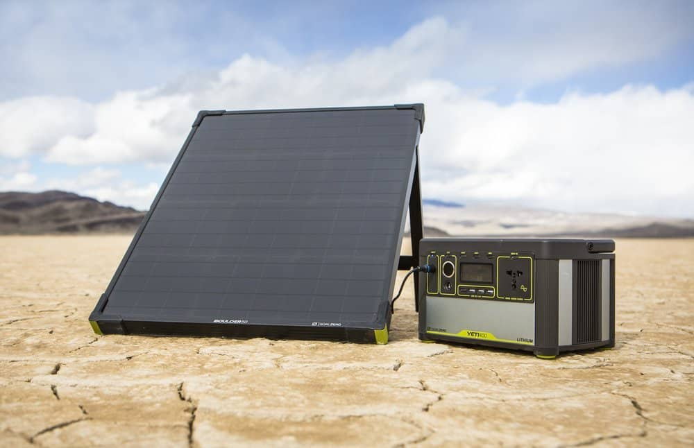 The Goal Zero Boulder 50 solar panel with a solar powered generator.