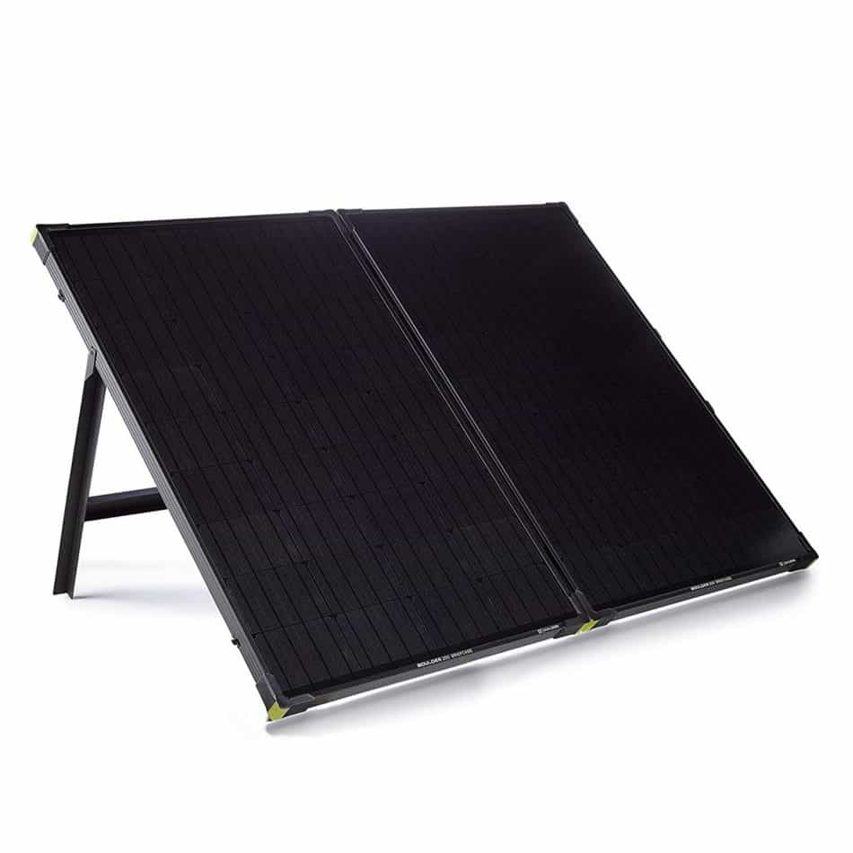 Boulder 100 portable solar panel front view with kickstand up