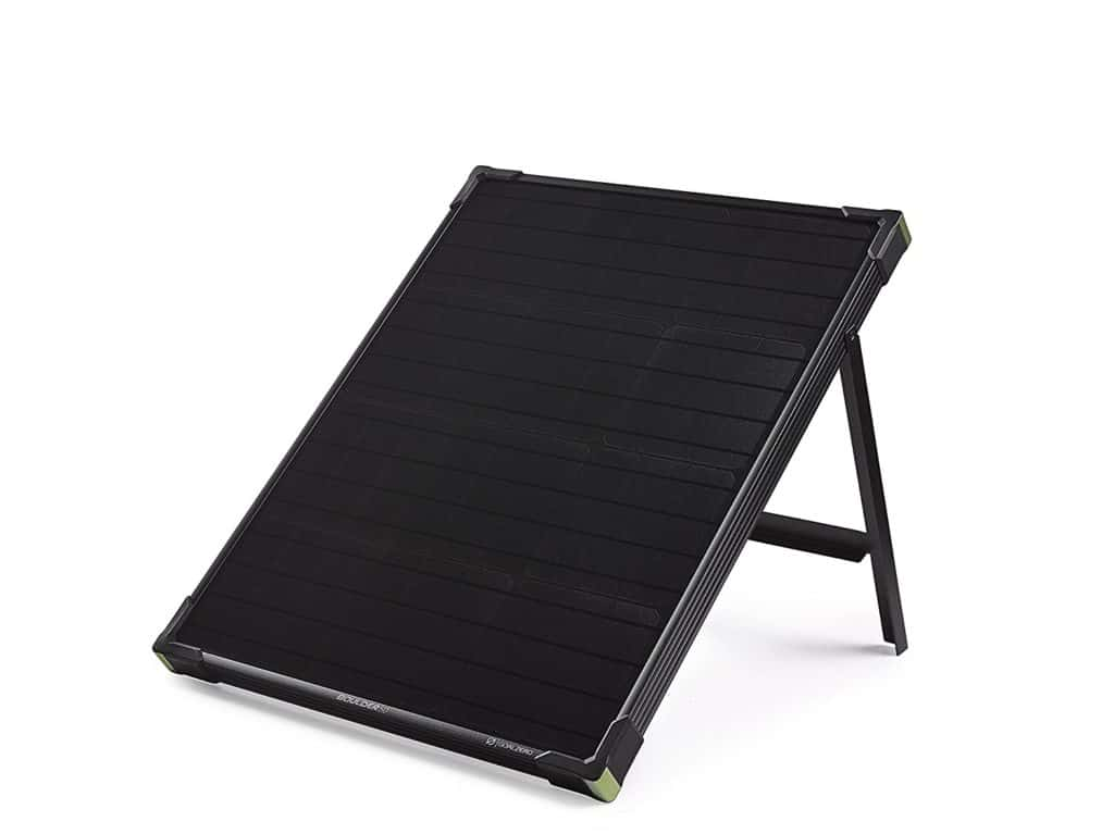 The Boulder 50 camping solar panel front view