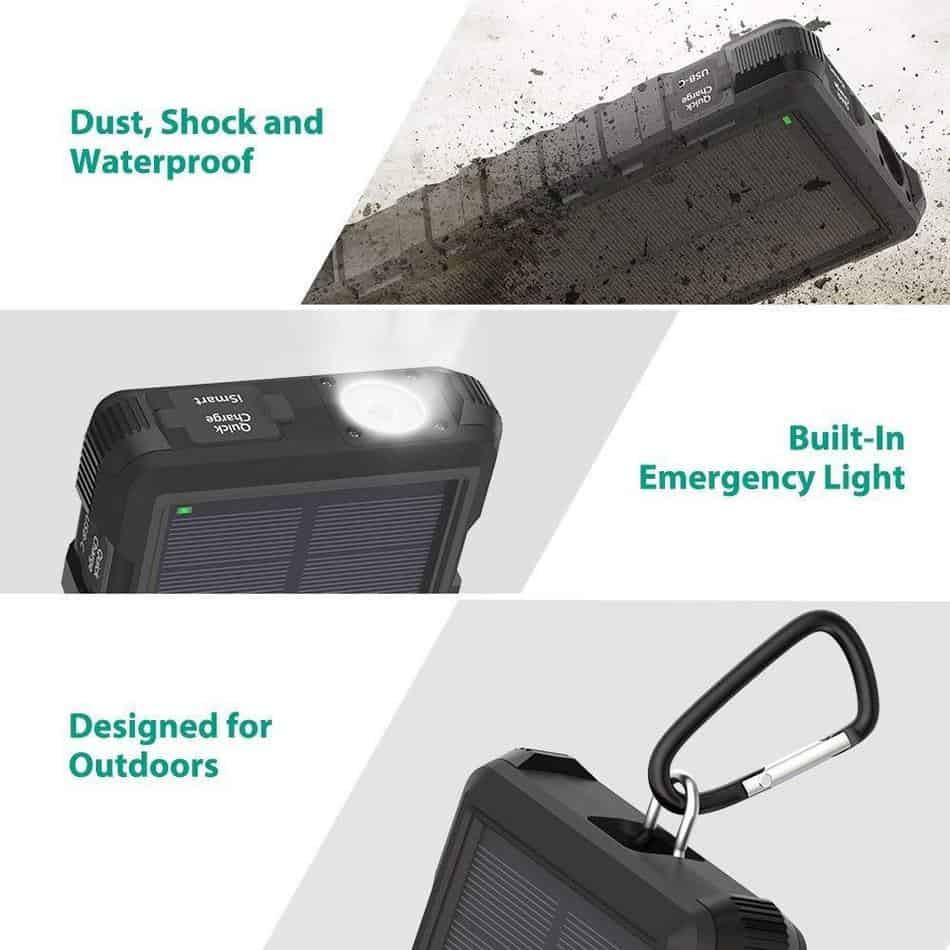 The RAVPower solar battery charger will make your next camping trip exceptional