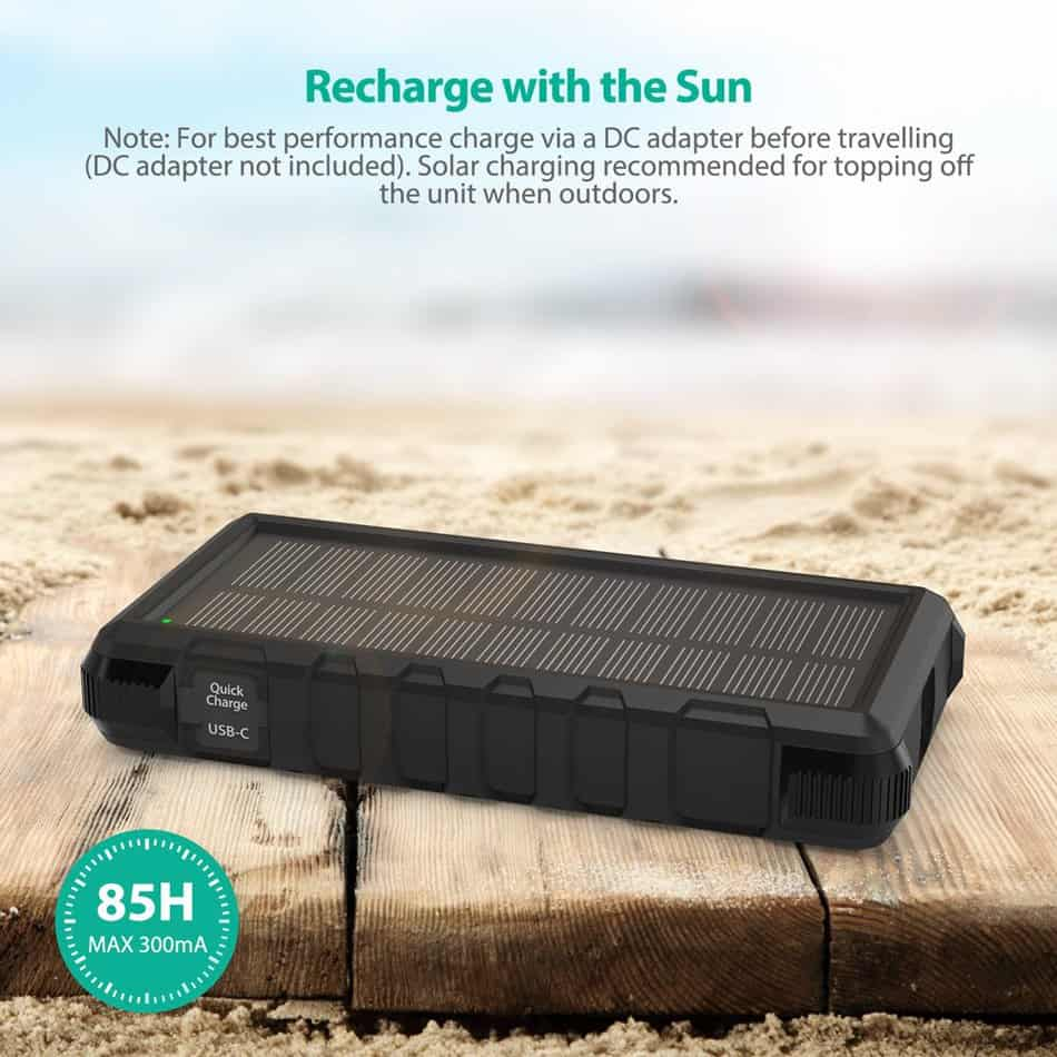 A solar panel is included within the RAVPower battery pack