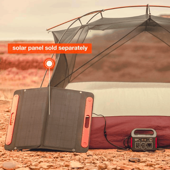 Jackery solar panel with solar charger and tent