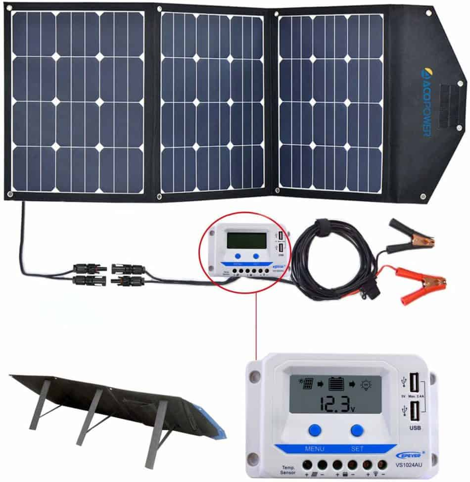ACOPOWER Foldable Solar Panel Kit with accessories