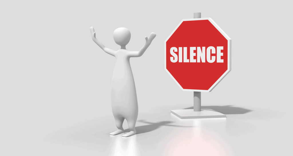 """Animation of person with stop sign labeled """"silence"""" on background"""