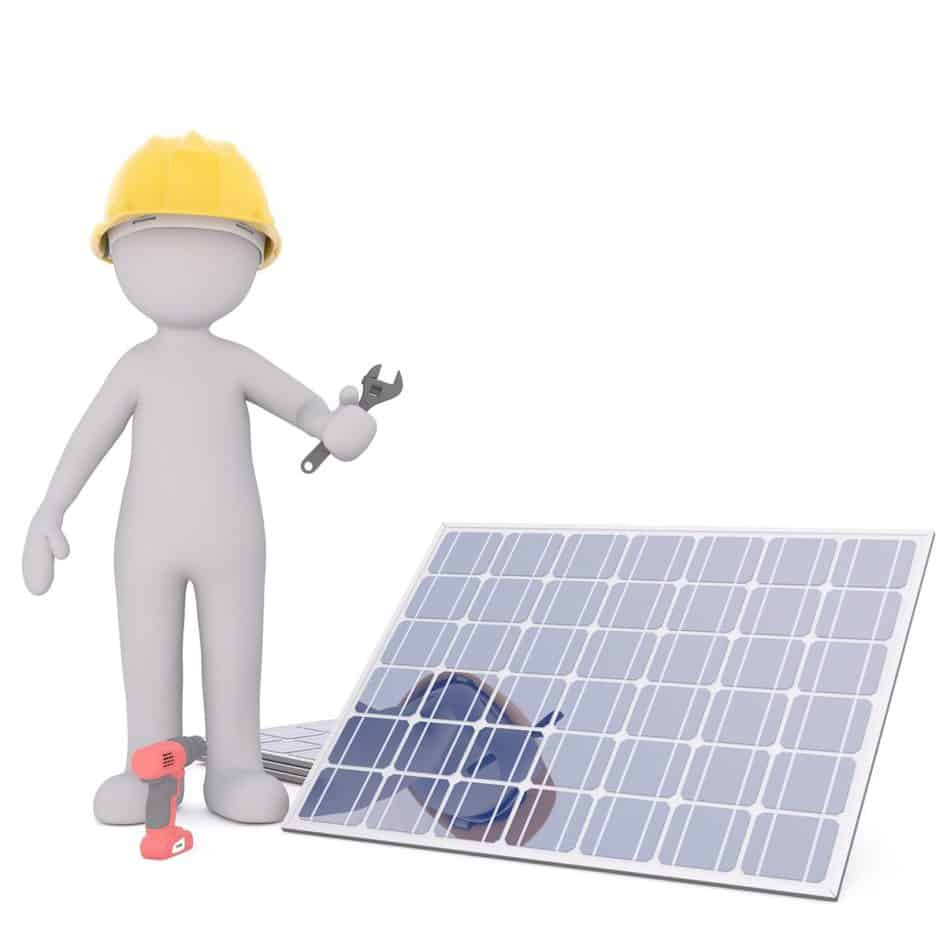 Construction worker animation working on solar panel