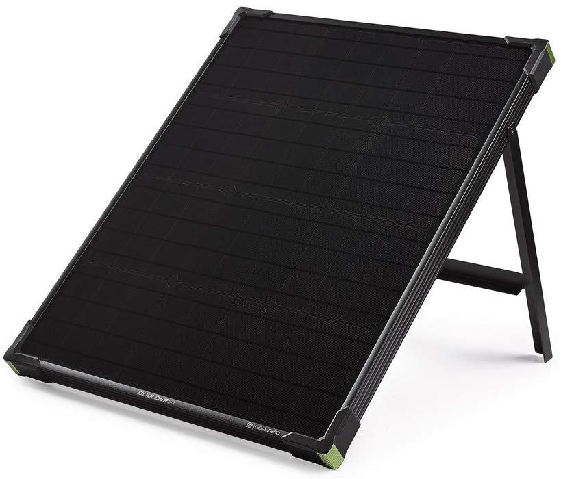 Boulder 50 solar panel with kickstand out