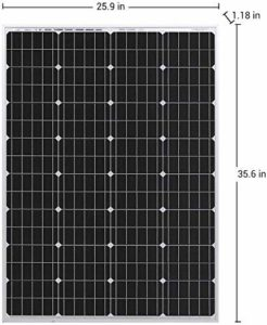 HQST monocrystalline solar panel front with dimensions