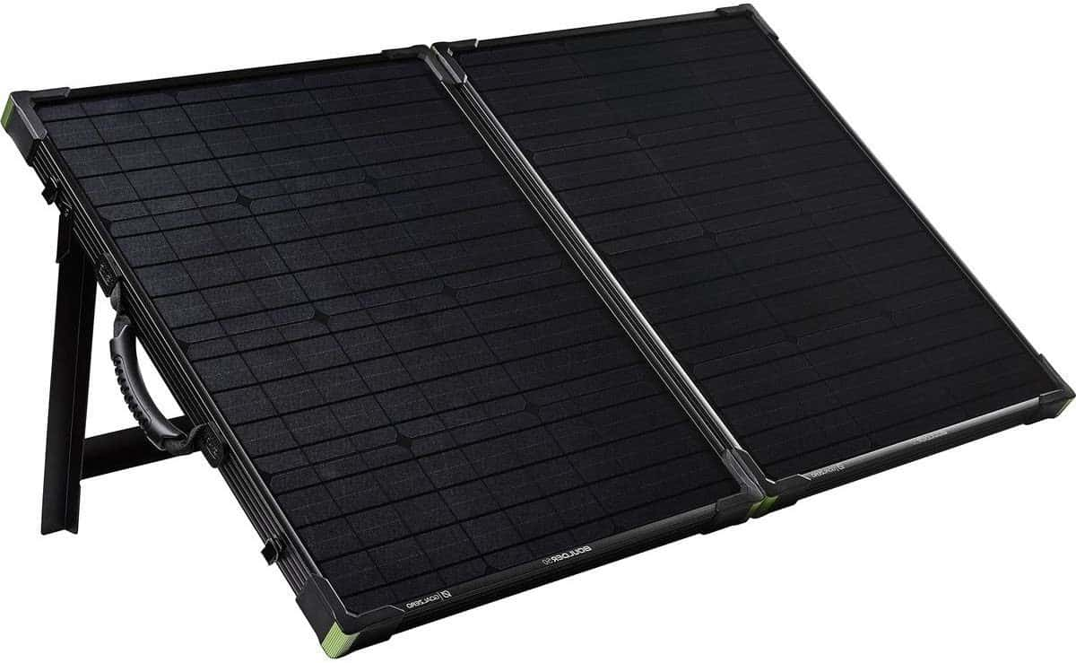 Boulder 100 solar panel with kickstand out