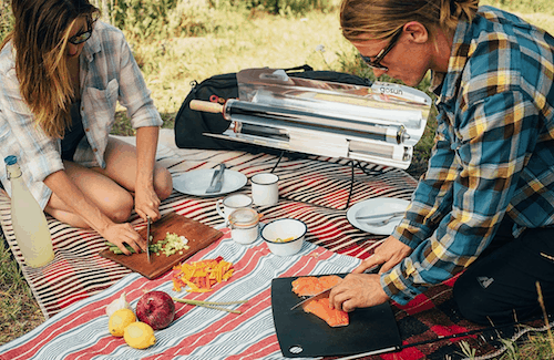 camping trip with a Gosun solar oven
