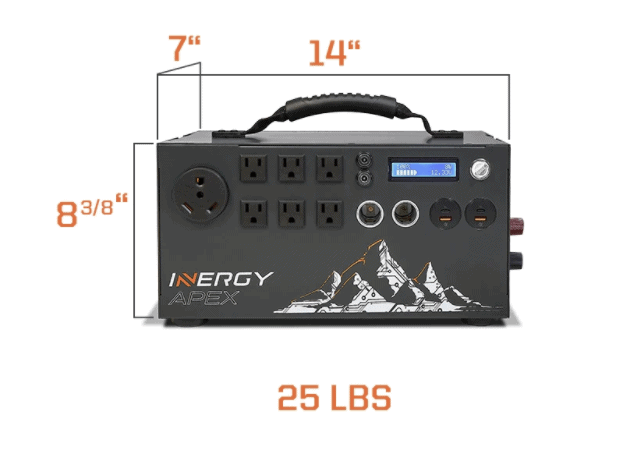 Inergy Apex front view with dimensions and weight listed
