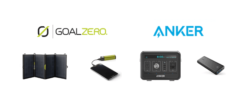 Anker and Goal Zero logos with some of their products together