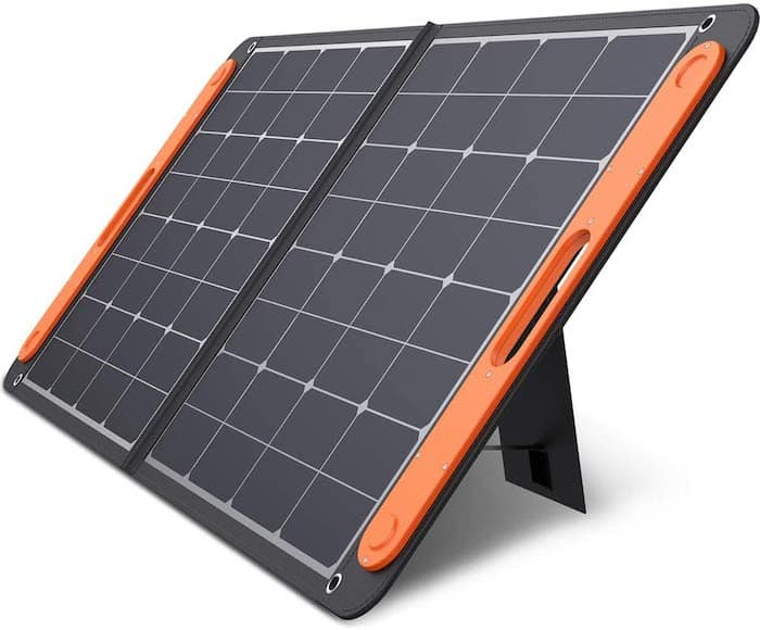 Jackery SolarSaga 100W solar panel front with kickstand out