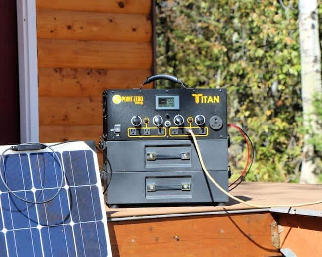 Titan power station outside charging with solar panels