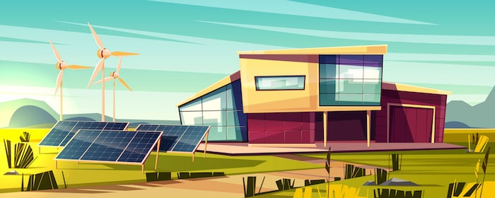 Animation of home with solar panels and wind turbines