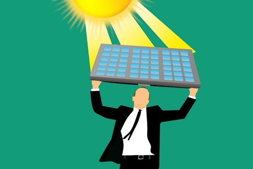 Man holding solar panel animation