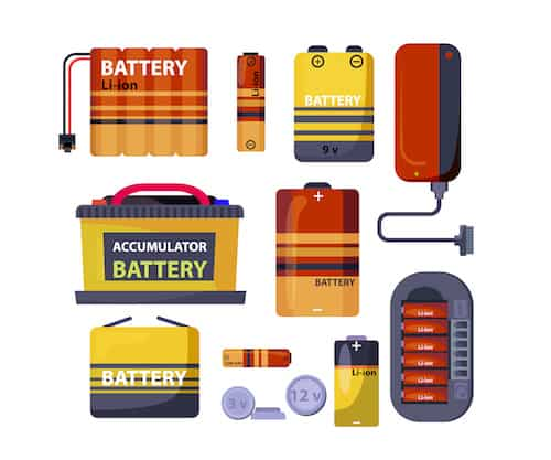 Multiple animations of different styles of batteries