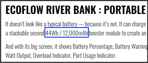 EcoFlow River power bank description highlighted to show mAh and Wh