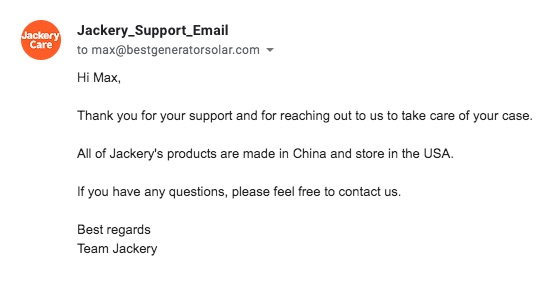 Jackery Manufactured in China Email