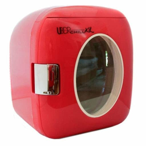 UBER CHILL OUTDOOR RATED MINI FRIDGE front view in red