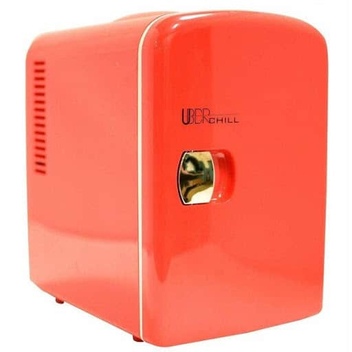 UBER CHILL PERSONAL MINI FRIDGE front view in pink
