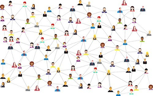 Communication web of people and dashed lines