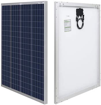 HQST 100W polycrystalline solar panel front and back