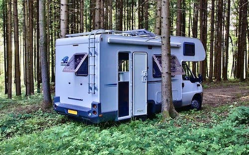 Motorhome in forest