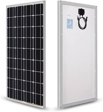 Front and back views of Renogy 100W solar panel