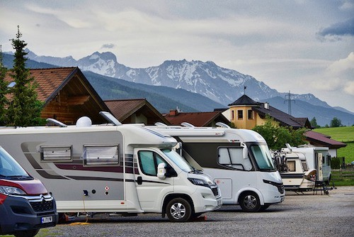 RV with mountains in background