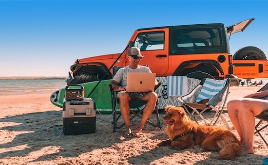 Jackery Explorer 1000 being used on a beach